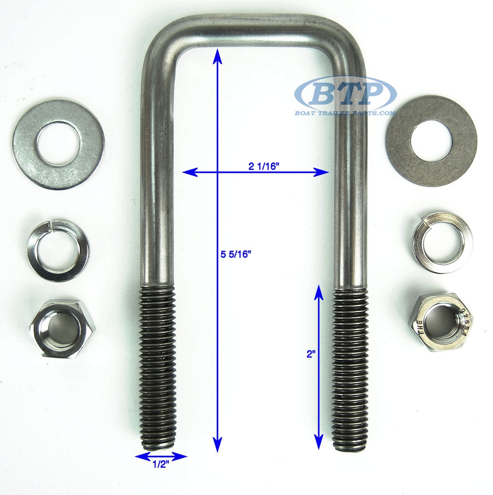 Stainless steel square trailer u bolt inch