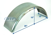 Cold Rolled Steel Trailer Fender Smooth 8 inch x 28 inch x 10 inch