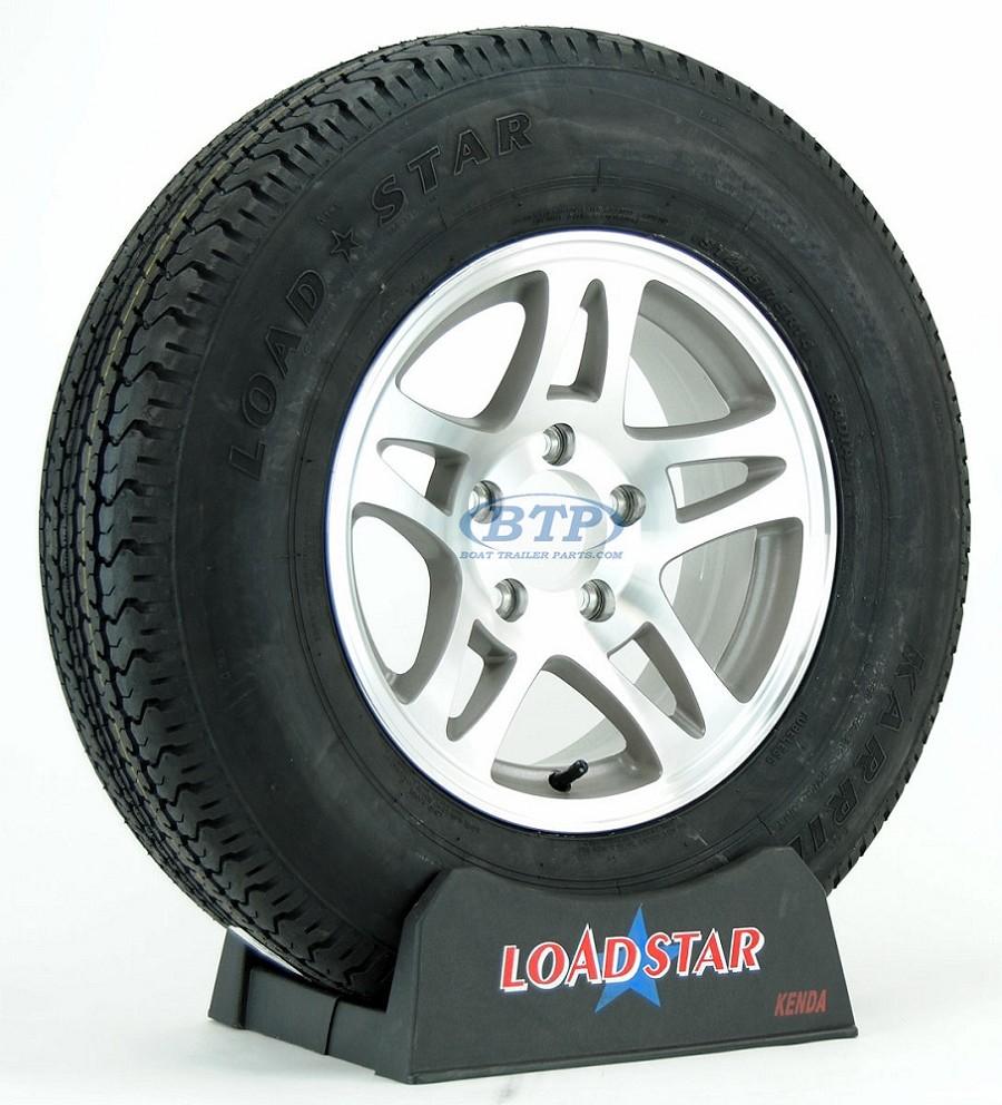 boat trailer tire st205 75r14 radial on aluminum rim 5 lug split spoke. Black Bedroom Furniture Sets. Home Design Ideas