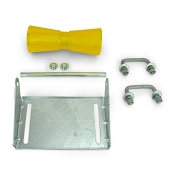 10 inch Yellow Poly Vinyl Boat Trailer Keel Roller and Bracket Kit for 1.5x3 Cross Members