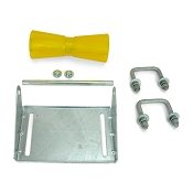 10 inch Yellow Poly Vinyl Boat Trailer Keel Roller and Bracket Kit for 2x3 Cross Members