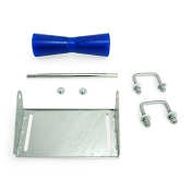 12 inch Blue Poly Vinyl Boat Trailer Keel Roller and Bracket Kit for 2x3 Cross Members