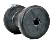 4 inch Black Rubber spool Roller 5/8 Bore