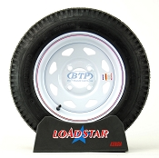 Trailer Tire 4.80 x 12 on White Painted Wheel 4 Lug Rim 990lb by Loadstar