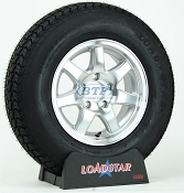 Boat Trailer Tire ST205/75D14 on Aluminum Wheel 5 lug 7 Spoke by Loadstar