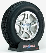Boat Trailer Tire ST205/75D14 on Aluminum Wheel 5 Lug Split Spoke by Loadstar