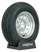 Trailer Tire ST205/75D14 Bias on Silver Modular Wheel 5 Lug by Loadstar