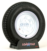 Trailer Tire ST205/75D14 on White Steel Wheel 5 Bolt Rim by Loadstar