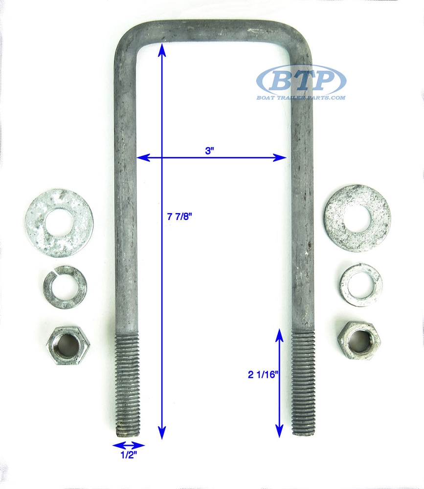 1//2-3 3//4 X 7 Galvanized Square U-Bolts Nuts and Washers Included 4