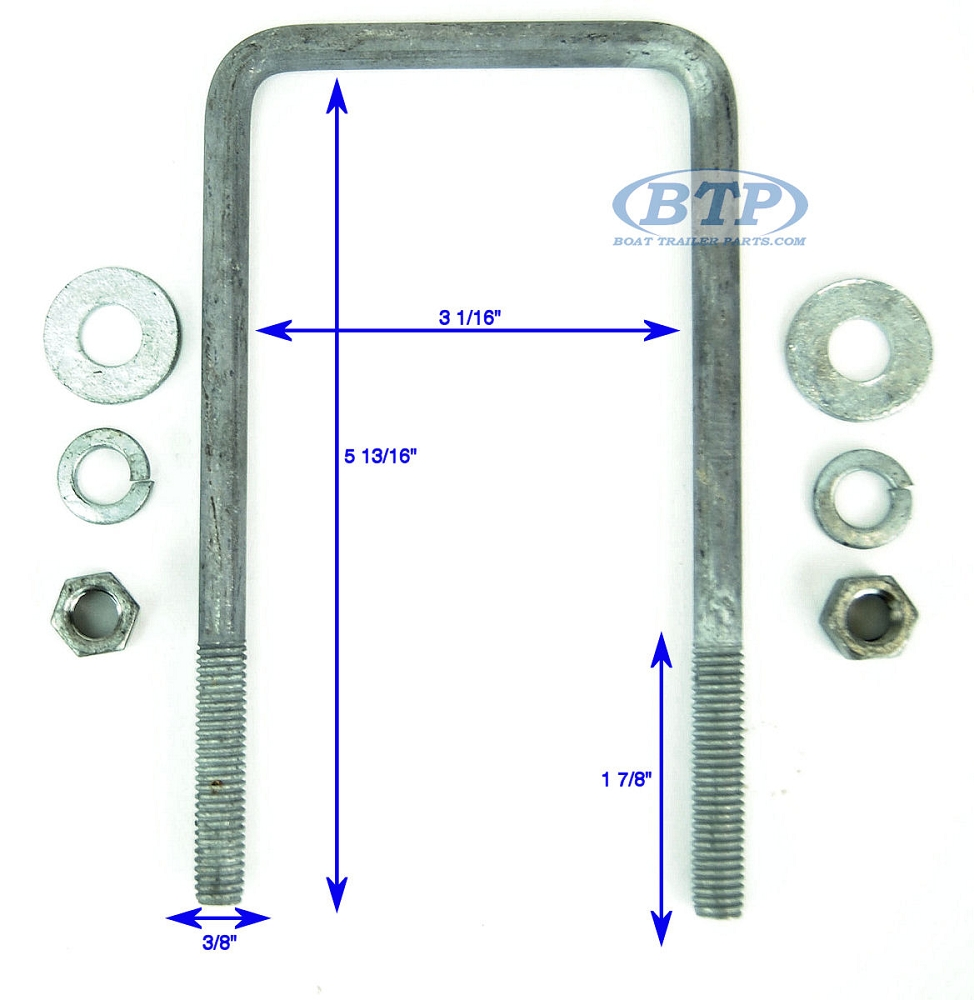 Boat Trailer U Bolts in Stainless Steel and Galvanized