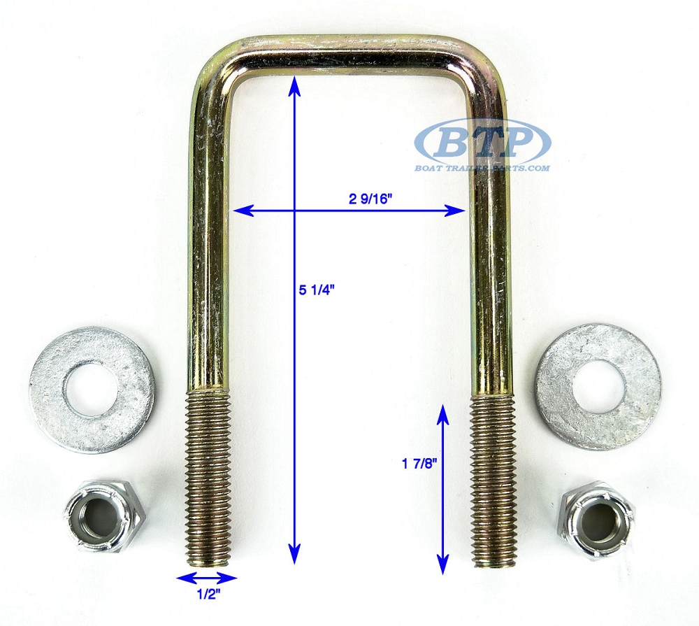 Half Inch Trailer Revisited: Zinc Plated Square Trailer U-Bolt 1/2 Inch X 2 1/2 Inch X