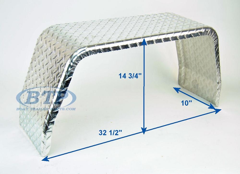 Aluminum Diamond Plate Boat Trailer Fender Single Axle 10 X 32 X 14