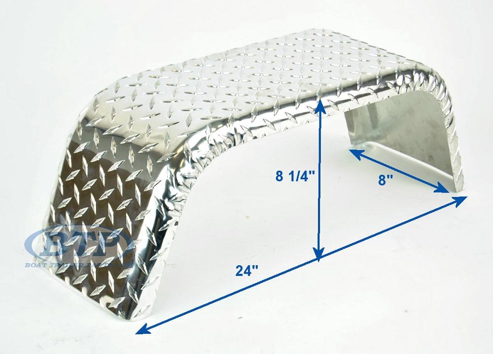 Aluminum Diamond Plate Boat Trailer Fender Single Axle 8 X 24 X 8 1 4