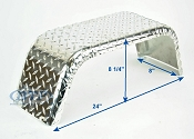 Aluminum Diamond Plate Boat Trailer Fender Single Axle 8 x 24 x 8 1/4