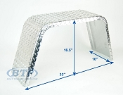 Aluminum Diamond Plate Boat Trailer Fender Single Axle 10 x 33 x 16 1/2
