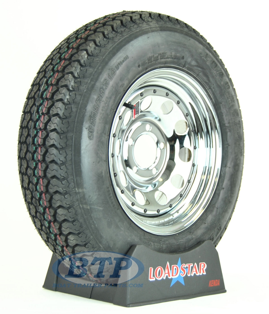 Boat Trailer Tire St205 75d14 On Chrome Wheel 5 Lug Rim By Loadstar