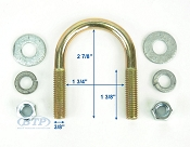 Zinc Plated Round Trailer U-Bolt 3/8 inch x 1 3/4 in x 2 7/8 in