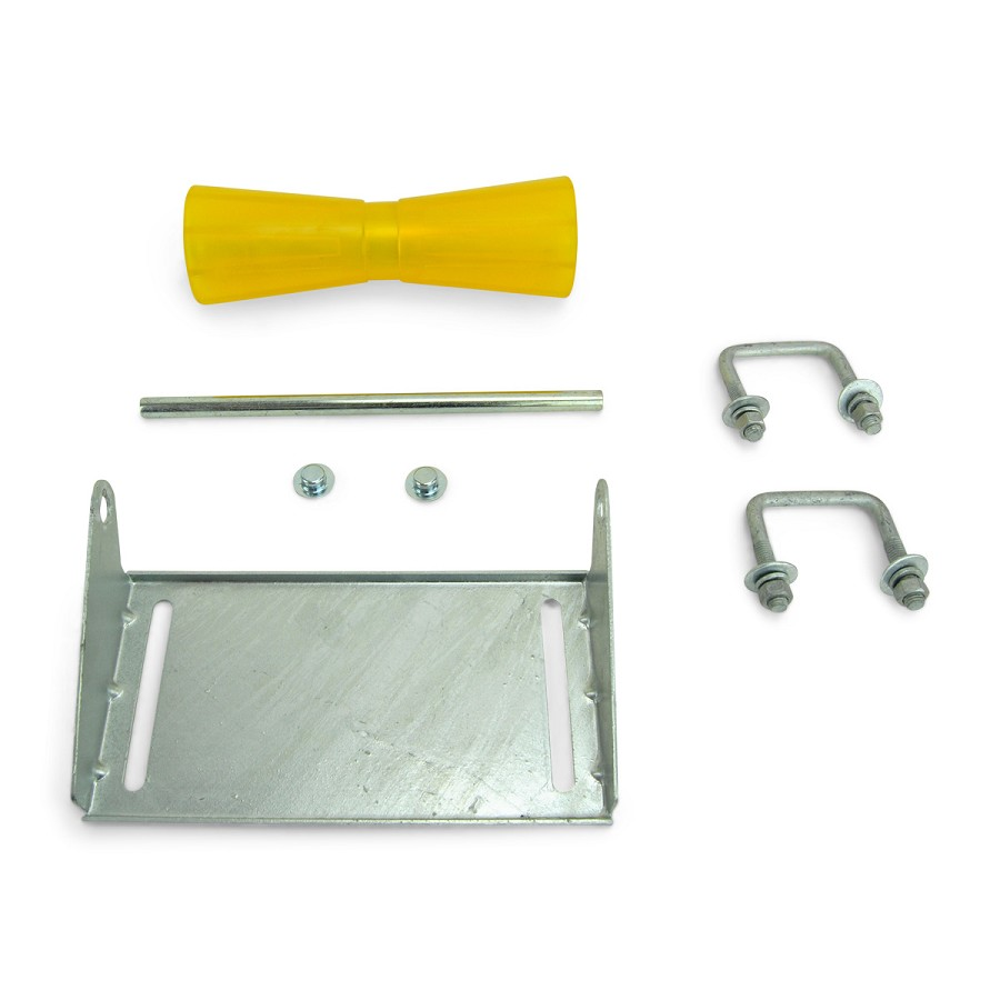 12 inch Yellow Poly Vinyl Boat Trailer Keel Roller and Bracket Kit for 2x3 Cross Members