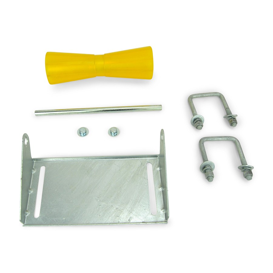 12 inch Yellow Poly Vinyl Boat Trailer Keel Roller and Bracket Kit for 3x3 Cross Members