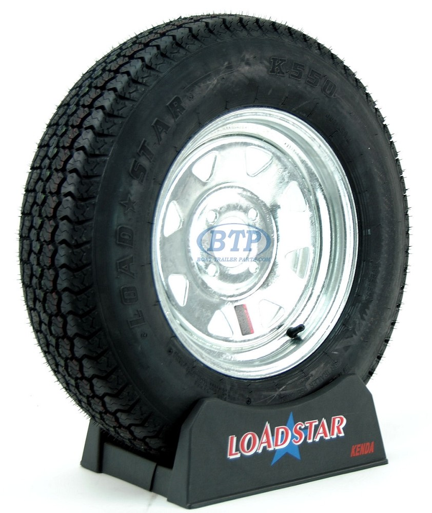 ST175/80D13 Bias Ply Tire mounted on a Galvanized 4 bolt Wheel