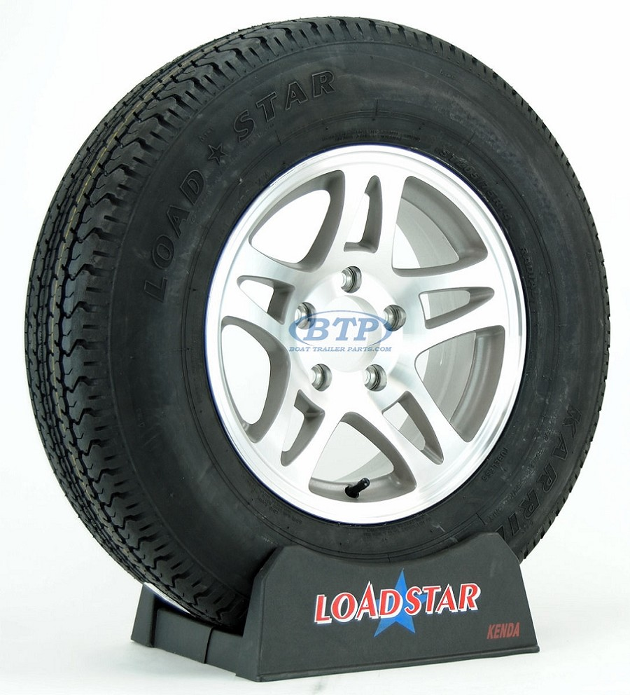 Boat Trailer Tire ST205/75R14 Radial on Aluminum Rim 5 Lug Split Spoke