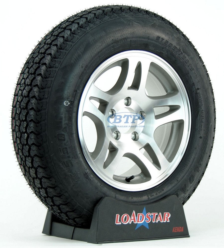 Boat Trailer Tire ST205/75D15 on Aluminum Wheel 5 Lug Split Spoke