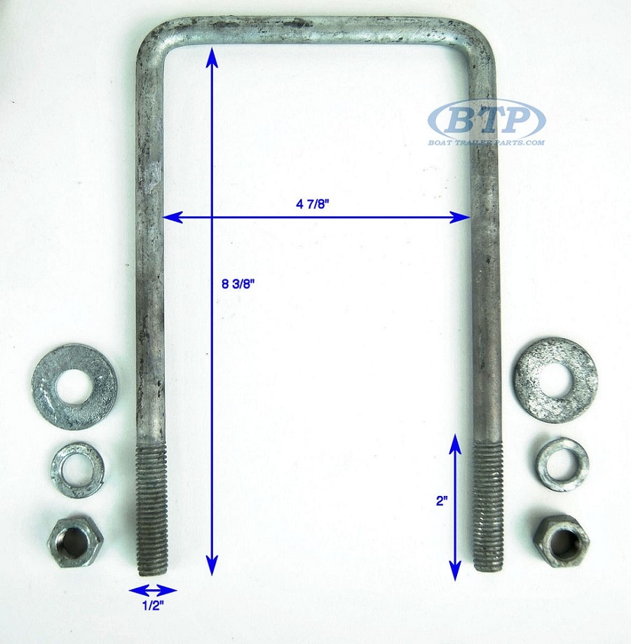 Half Inch Trailer Revisited: Galvanized Square Trailer U-Bolt 1/2 Inch X 4 7/8 Inch X 8