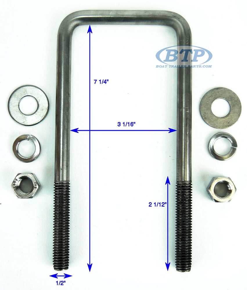 Stainless Steel Square Trailer U-Bolt 1/2 inch x 3 inch x 7 5/16 inch