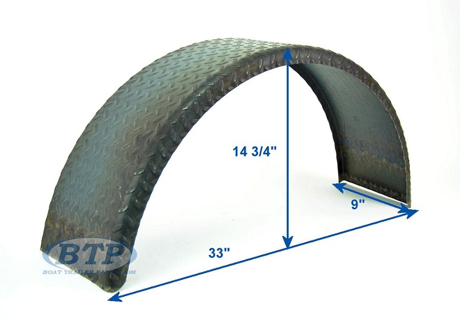 Steel Diamond Plate Round Trailer Fender Single Axle 9in x 32in x 15in