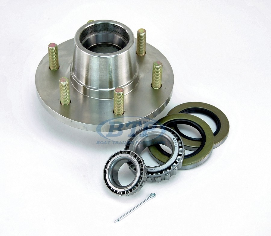 Stainless Steel 6 Lug Trailer Hub with Bearings for 5200lb Axle