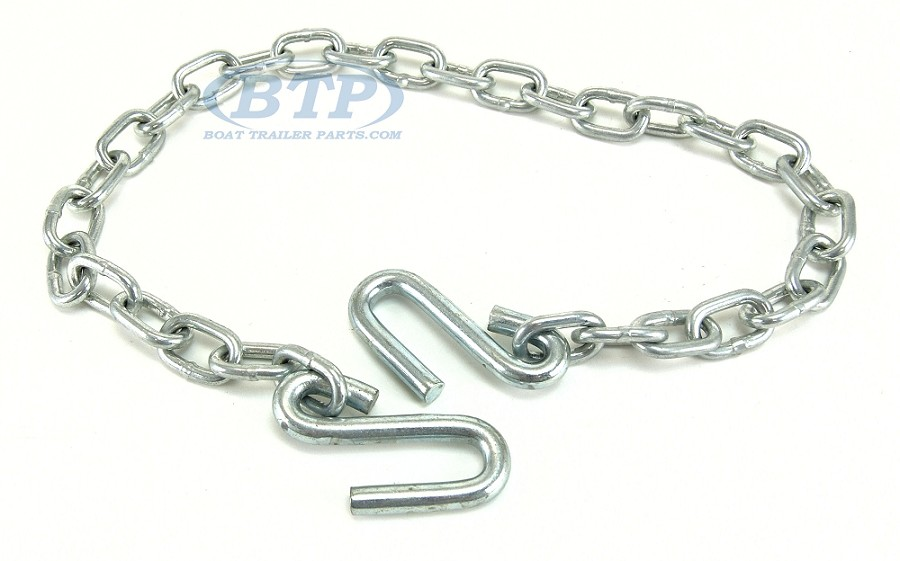 "Boat Trailer Safety Chain Zinc Plated 1/4"" Thickness 48 inch 5,000lb Dual Hook"